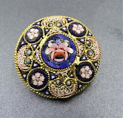 Womens Brooch Mosaic Glass Tile Flower Micro Pin Italian Fashion Collectable