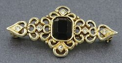 Womens Brooch Gold Plated & Rhinestone Filigree Style Vintage Jewellery