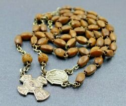 Rare French Rosary Silver Tone And Wooden Carved Religious Vintage Catholic Rosary