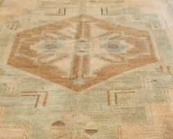 Antique 1940and039s Muted Natural Dye Distressed Wool Pile Oushak Area Rug 5and0397andtimes9and0393