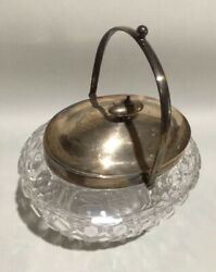 James Dixon And Sons English Sterling Silver Large Covered Crystal Candy Dish