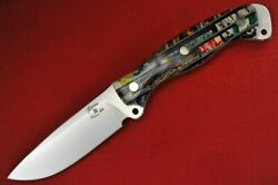 Busse Custom Mean Street Ergo .158 Satin Infi Blade Brick Stacked Fossil Tooth