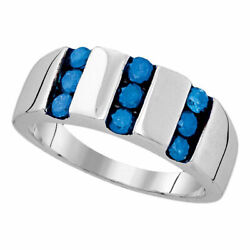 Saris And Things Sterling Silver Mens Round Blue Color Enhanced Channel-set Diam