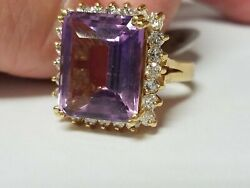 Vintage Amethyst And Diamond Ring 14k Yellow Gold Size 6.25