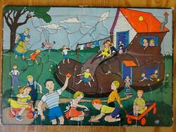 Vintage Built Rite Toys Sta-n-place 18 Child's Frame Tray Board Inlaid Puzzle