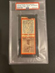 1936 Diamond Matchbooks Red Jerome Dizzy Dean Psa A. Only 3 Known Graded Rare