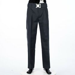Dior 1600 Navy Blue Cotton Faille Pants With Removable Harness Buckle Belt