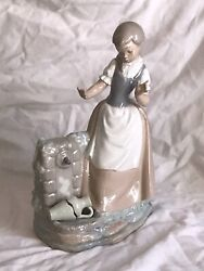 Large Spanish Porcelain Lladro Nao Figurine Lady By Water Fountain No2