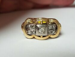 Antique Platinum And Diamond Ring 14k Yellow Gold Size 8