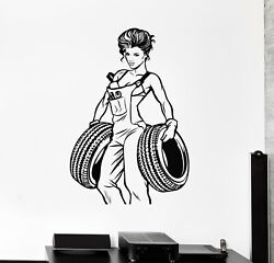 Vinyl Wall Decal Sexy Girl Decor For Garage Auto Repair Wheels Stickers G2478