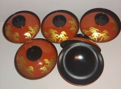 Vintage Japanese Lacquer Ware Rice Bowls With Lids 5