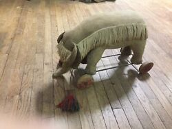 Vintage Mohair Straw-filled Circus Elephant Pull Toy W/ Wood Wheelsgermanyty40