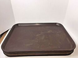 6 Pcs Vintage Brown Bolta 504 Plastic Lunch Tray Cafeteria 20 X 15 Mid Century