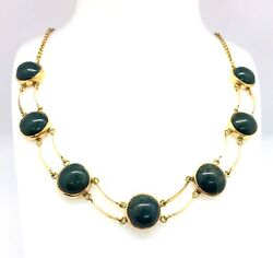 Antique Victorian 15ct Rose Gold Natural Bloodstone - Heliotrope Choker Necklace