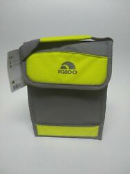 New Igloo Bag It Cooler Bag 5 Can Storage Capacity Gray and Yellow Free Shipping $14.99