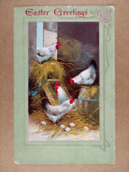 Antique Easter Greetings Chickens Eggs Hen House postcard