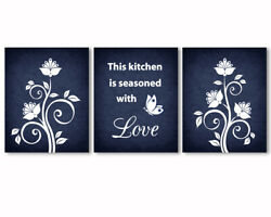3 prints set kitchen wall art decor This kitchen is seasoned with love quote
