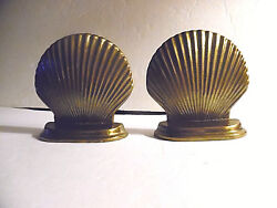 Vintage Solid Cast Brass Shell Shaped Bookends