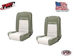Full Set Deluxe Pony Seat Upholstery Ford Mustang Front/rear - Ivy Gold And White
