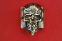 Steel Flame Xl 3d Darkness Skull In Bronze On Stainless Molle Clip