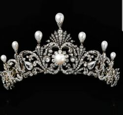 925 Sterling Silver White Round Cz Pearl Tiara Vintage Style Solid Head Jewelry