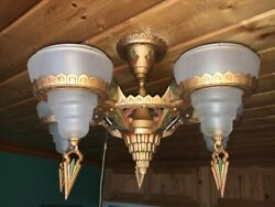 Antique Art Deco White Frosted Gil Glass 5 Light Slip Shade Chandelier Fixture