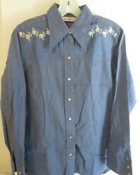 COWGIRL RODEO blouse top CHAMBRAY denim EMBROIDERY  shirt sz 36 pit to pit 20