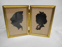 Antique Black Silhouette Victorian Cut Paper Pictures Mimi And Dot Cut-out Old Vtg