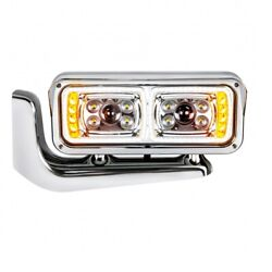 10 Led Chrome Projection Headlight Assembly With Mounting Arm - Driver Side