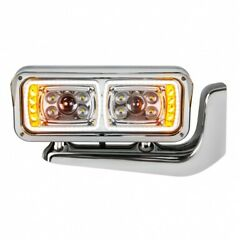 10 Led Chrome Projection Headlight Assembly With Mounting Arm - Passenger Side