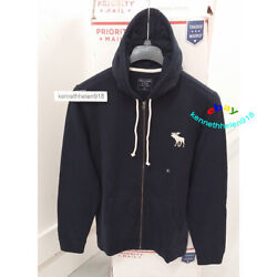 Abercrombie And Fitch Mens Exploded Icon Full Zip Hoodie Sweatshirts Navy Size M