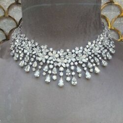925 Sterling Silver Flower Design Pear Drop Party Wear Highend Solid Necklace