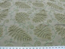9.75y Old World Weavers Fossils-dark Green On Beige Embroidery Msrp372