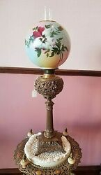 Antique Victorian Bradley And Hubbard Oil Burning Banquet Lamp 33t
