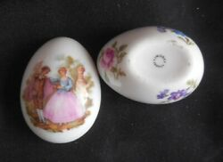 Limoges China Trinket Egg W Handsome Colonial Victorian Lovers Couple And Flowers