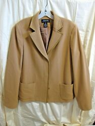 Jones Ny Brown Jacket Size 12 80 Wool Fully Lined Long Sleeve Leather Trim