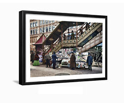 Newsstand Herald Square 6th Ave Manhattan Vintage Framed Photo Art Print Nyc