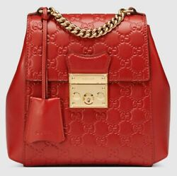 NWT Gucci Red Leather Padlock Backpack Hibiscus Guccissima Gold Chain Bag mini