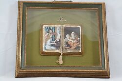 Vtg Sungott Art Studios Ny Wall Hanging Ceramic Book Victorian Girls Shadow Box