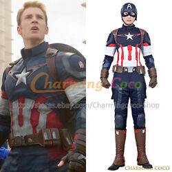 The Avengers 2 Age Of Ultron Steve Rogers Captain America Cosplay Costume Cool