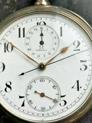 Early Omega Pocket Chronograph 1890 In A 0900 Silver Case Manufactory Caliber