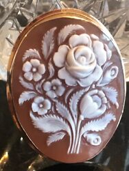 """Estate 14k Gold Museum Qualty Carving Cameo Pendent brooch Vintage 2"""" Long"""