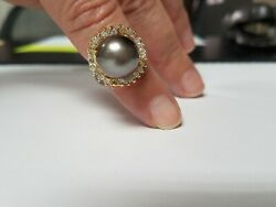 Estate 13mm Tahitian Pearl And Diamond 14k Yellow Gold Ring Size 6