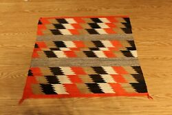 3' X 3' American Indian Navajo Rug Vintage Authentic Hand Woven Orange Red