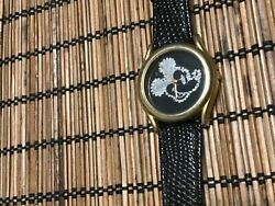 Mickey Mouse Collectible Watch Black And Rhinestone Face Disney New Battery