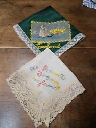 2 Antique Circa WWI Handkerchief with Lace Embroidered Greeting England hankie $9.99