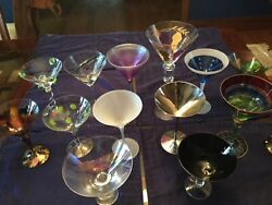 Martini Glass Collection Lot Of 14 Various Designs