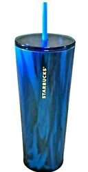 Rare New Starbucks Matte Blue Marble Stainless Tumbler Venti 24oz Cold Cup Htf