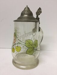 Blown Glass Beer Stein With Pewter Lid And Enameled Hops Germanyst34