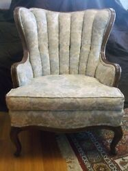 Antique Vintage 1950's Fluted Channel Back Queen Anne Wing Back Chintz Arm Chair